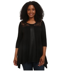 Karen Kane Plus Plus Size Faux Leather And Lace Top Black Women's Long Sleeve Pullover