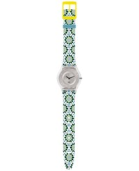 Swatch Women's Swiss Botanical Bomb Multicolor Print Silicone Strap Watch 34Mm Sfk327