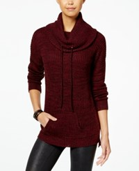 Planet Gold Juniors' Cowl Neck Sweater Tunic Zinfandel