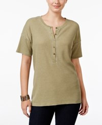 G.H. Bass And Co. Short Sleeve Burnout Dyed Top Dusty Olive