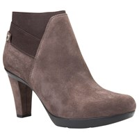Geox Inspiration High Cone Heel Ankle Boots Chestnut Suede