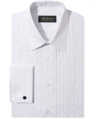 Michelsons Of London Slim Fit Pleated Point French Cuff Tuxedo Shirt White
