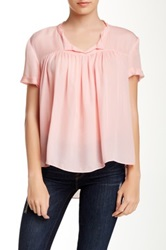 Zoa Short Sleeve Pleated Silk Blouse Pink
