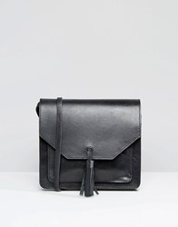 Asos Leather Cross Body Bag With Tassel Black