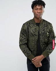 Alpha Industries Ma 1 Bomber Jacket With All Over Print In Slim Fit Dark Green Gr1 Green 1