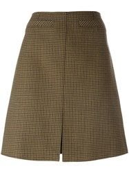 Courreges Houndstooth Patterned A Line Skirt Green