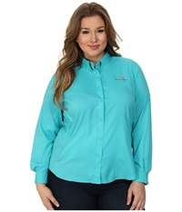 Columbia Plus Size Tamiami Ii L S Shirt Geyser Women's Long Sleeve Button Up Beige