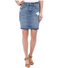 7 For All Mankind Mini Pencil Skirt W Released Hem Destroy Rigid Blue Orchid Women's Skirt