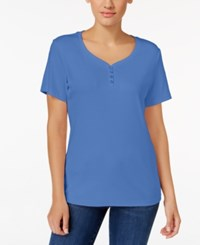 Karen Scott Henley T Shirt Only At Macy's Regatta Blue