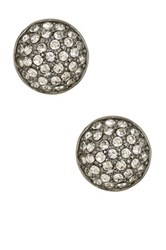 Ariella Collection Pave Ball Stud Earrings White