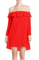A By Amanda Women's 'Joanna' Ruffle Off The Shoulder Dress Candy Apple