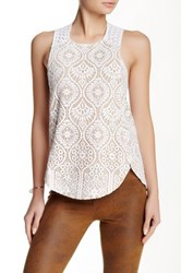 David Lerner Lace Racerback Tank White