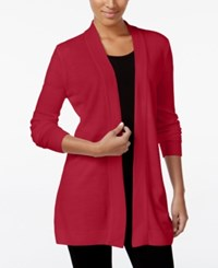 Karen Scott Open Front Sweater Cardigan Only At Macy's Only At Macy's New Red Amore