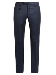 Incotex Slim Leg Flannel Wool Trousers Blue