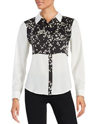 Ivanka Trump Sheer Patterned Button Front Shirt Black White
