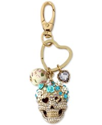 Betsey Johnson Gold Tone Pave Skull Charms Keychain Blue