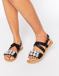 Park Lane Jewel Strap Flat Sandals Bk1 Black 1