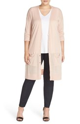 Halogenr Plus Size Women's Halogen Long V Neck Merino Blend Cardigan Pink Smoke