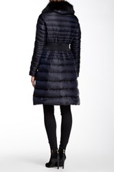 Dawn Levy Genuine Fox Fur Trimmed Belted Down Jacket Gray