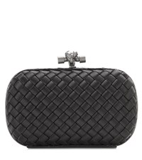 Bottega Veneta Knot Snakeskin Trimmed Satin Box Clutch Black
