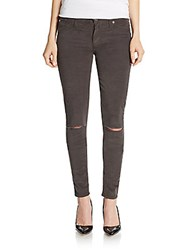 Hudson Distressed Mid Rise Super Skinny Corduroy Pants Chrome