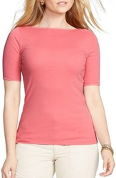 Plus Size Women's Lauren Ralph Lauren Boatneck Elbow Sleeve Stretch Cotton Tee Faded Rose