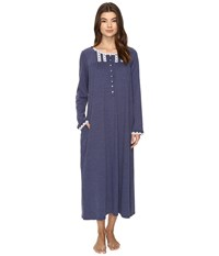 Eileen West Long Sleeve Ballet Nightgown Heather Navy Women's Pajama