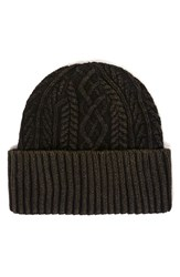 Topman Men's Topshop Brian Cable Knit Cap Green Olive
