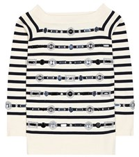 Marc Jacobs Embellished Striped Cotton And Cashmere Sweater White