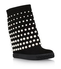 Casadei Chaucer Pearl Embellished Wedge Boots Female Black