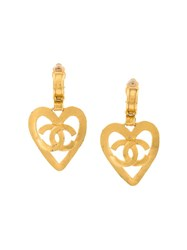 Chanel Vintage Cc Heart Logo Clip On Earrings Metallic