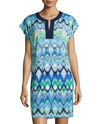 Laundry By Shelli Segal Printed Split Neck Dress Summer Green Multi