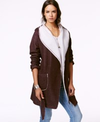 Sanctuary Hooded Fleece Wrap Sweater Mulberry