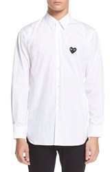 Men's Comme Des Garcons 'Play' Wool V Neck Sweater With Heart Applique White