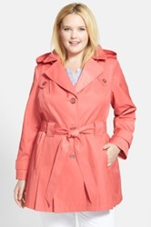 Via Spiga 'Scarpa' Single Breasted Trench Coat Plus Size Pink