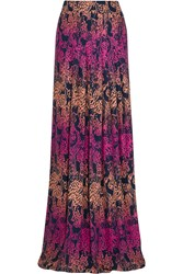 Matthew Williamson Pleated Printed Silk Maxi Skirt