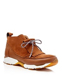 Carven Fringe Chukka Sneakers Cognac Brown