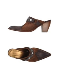 Manufacture D'essai Open Toe Mules Dark Brown