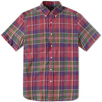 Beams Plus Short Sleeve Madras Shirt Purple