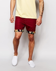 Bellfield Chino Shorts With Hawain Contrast Turn Up Wine
