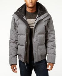 Andrew Marc New York Men's Summit Embossed Down Bomber Jacket Gray