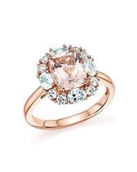 Bloomingdale's Morganite Aquamarine And Diamond Ring In 14K Rose Gold Pink Rose