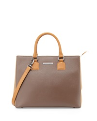 Charles Jourdan Lilac Two Tone Medium Leather Satchel Taupe