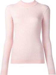 Courreges High Neck Ribbed Blouse Pink And Purple