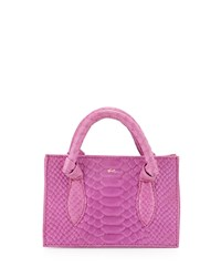 Foley Corinna Gigi Snake Embossed Leather Petite Crossbody Bag Fuchsia