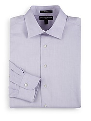 Saks Fifth Avenue Black Slim Fit Cotton Pique Dress Shirt Purple