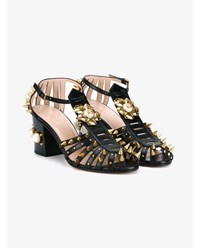 Gucci Mid Heel Studded Sandals Black Pearl