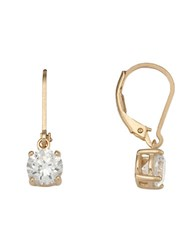 Lord And Taylor 18 Kt Gold Plated Cubic Zirconia Drop Earrings Sterling Silver