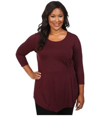 Vince Camuto Plus Size 3 4 Sleeve Side Ruched Top Raisin Women's Long Sleeve Pullover Brown