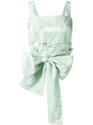 Rochas Bow Tie Pleated Top Green